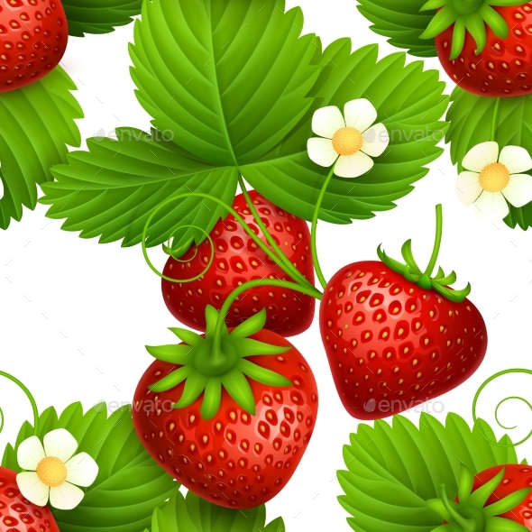 Plant Seamless Vector Textures with Eating - Food Objects