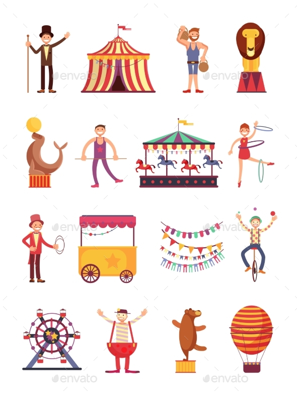 Carnival and Circus Cartoon Characters - Miscellaneous Vectors
