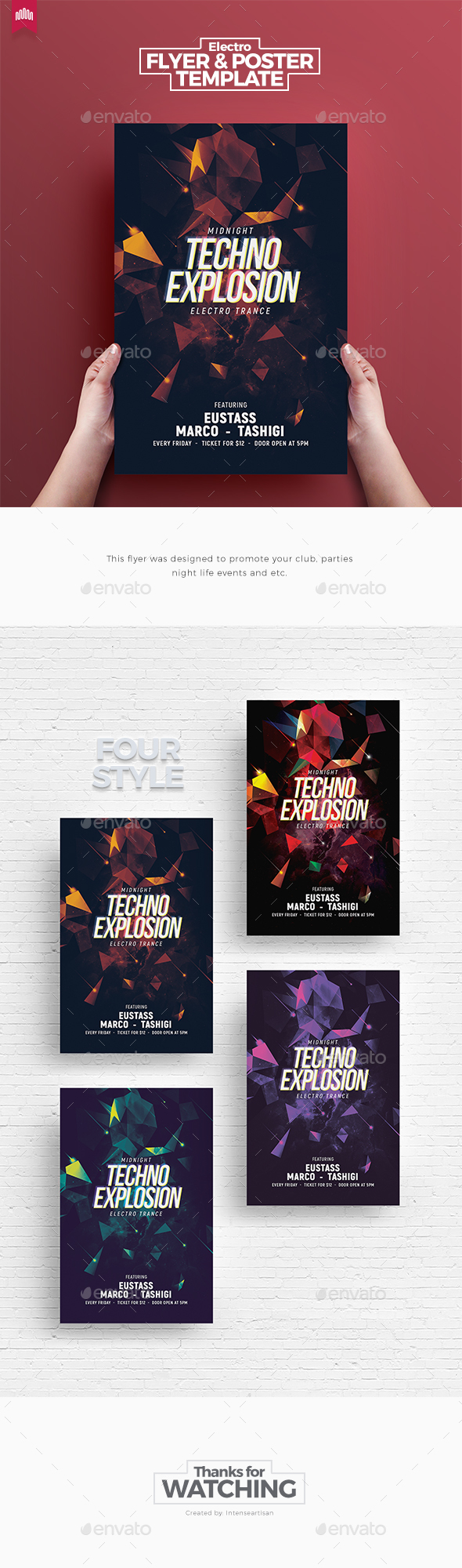 Techno Explosion - Flyer Template - Clubs & Parties Events
