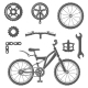 Set of Vintage Bike and Bicycle Equipment Elements - GraphicRiver Item for Sale