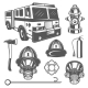 Set of Vintage Firefighter and Fire Equipment - GraphicRiver Item for Sale
