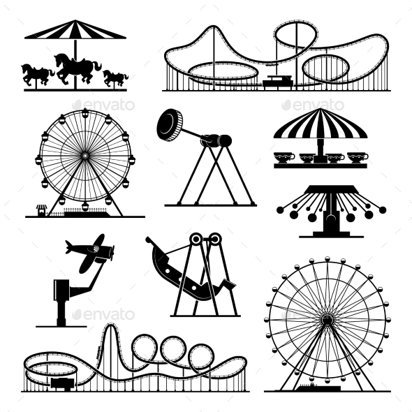 Vector Icons of Different Attractions in Amusement - Man-made Objects Objects