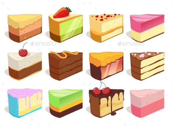 Cream Cake Slices Pieces - Food Objects