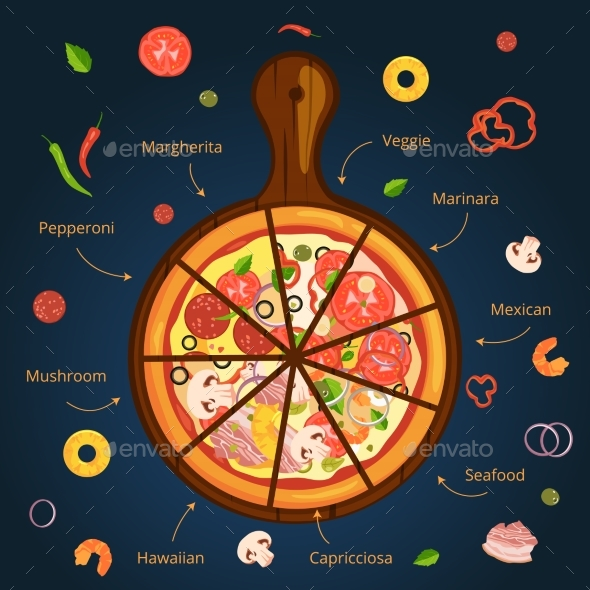 Different Ingredients of Classical Italian Pizza - Food Objects