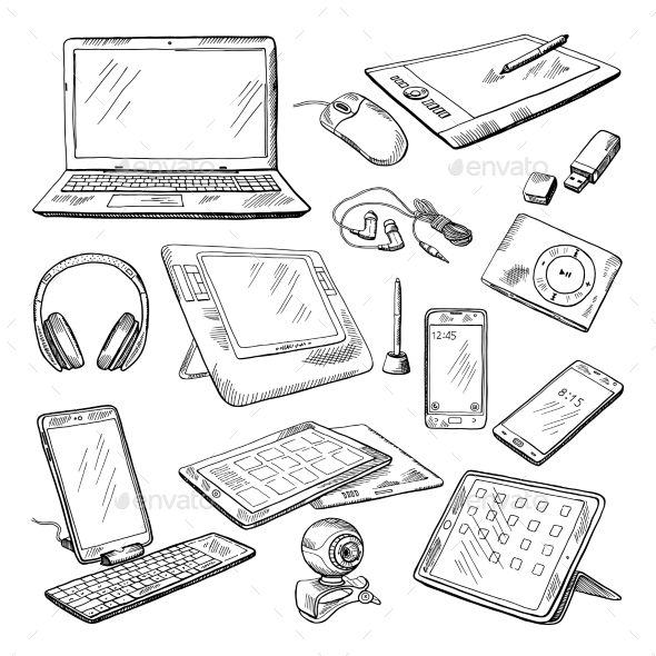Different Computer Gadgets - Man-made Objects Objects