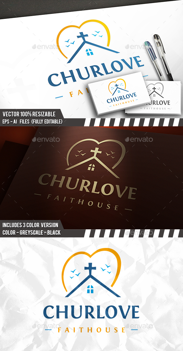 Church Love Logo - Buildings Logo Templates