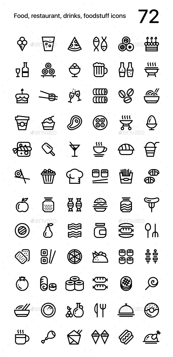Food, Restaurant, Foodstuff Icons Pack for Web and Mobile Apps - Food Objects