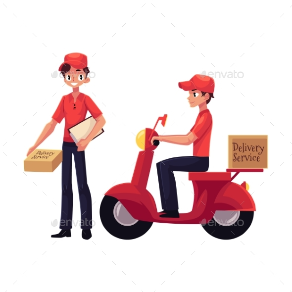Courier Delivery Service Worker Holding Package - People Characters