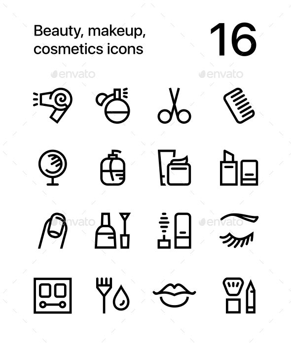 Beauty, Cosmetics, Makeup Icons for Web and Mobile Design Pack 1 - Icons