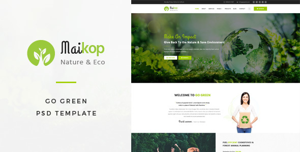 Maikop : Go Green PSD Template - Business Corporate