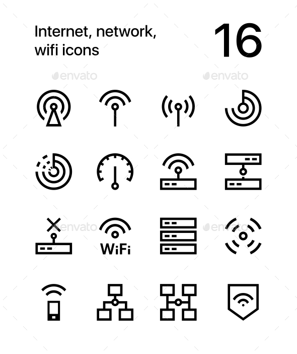 Internet, Network, Wifi Icons for Web and Mobile Design Pack 1 - Technology Icons