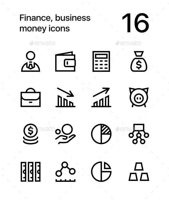 Finance, Business. Money Icons for Web and Mobile Design Pack 1 - Business Icons