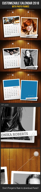 Customizable Calendar 2018 Photo Frame V07 - Miscellaneous Photo Templates