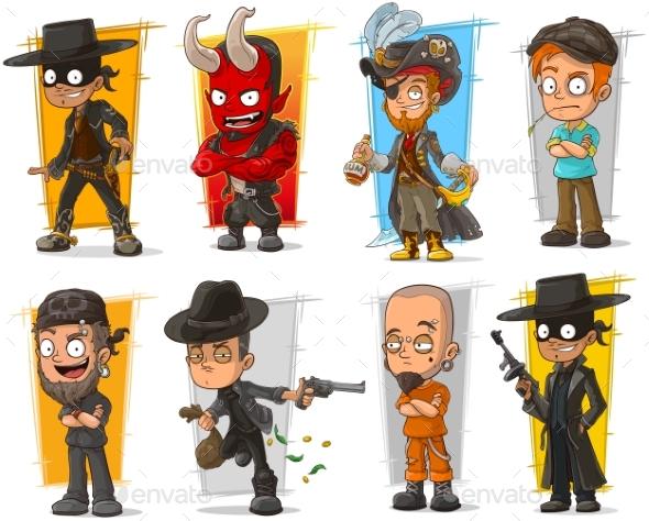 Set of Cartoon Bad Guys Characters - People Characters