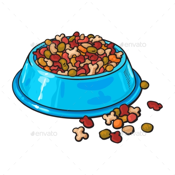 Plastic Bowl Filled with Dry Pelleted Pet - Animals Characters
