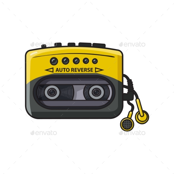 Old Fashioned Black and Yellow Audio Player - Retro Technology