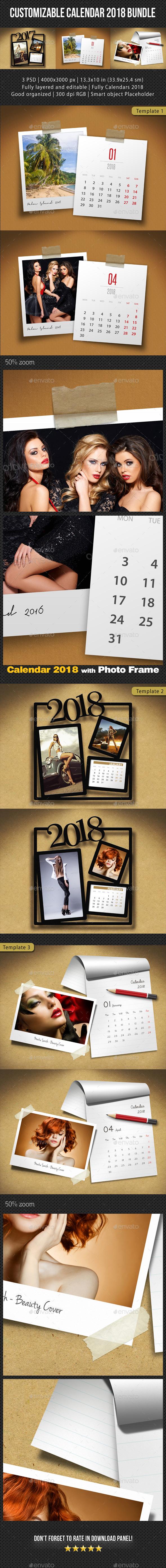 3 in 1 Customizable Calendar 2018 Bundle V02 - Miscellaneous Photo Templates