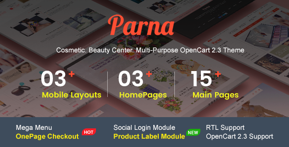 Parna - Multipurpose Responsive OpenCart 2.3 Theme | Cosmetic Store | Beauty Center | Fashion Store - Health & Beauty OpenCart