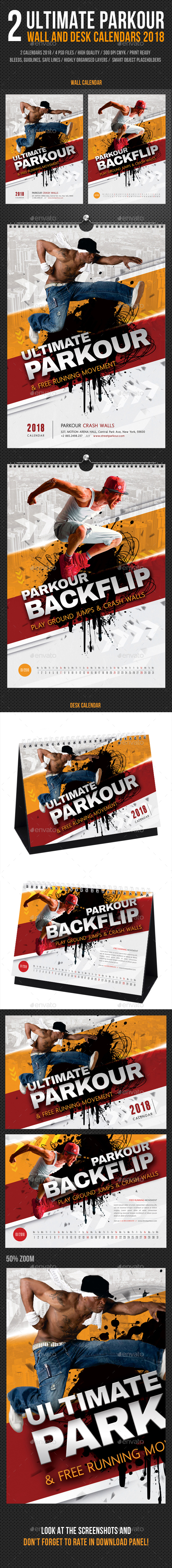 Ultimate Parkour Wall - Desk Calendar 2018 Bundle - Calendars Stationery