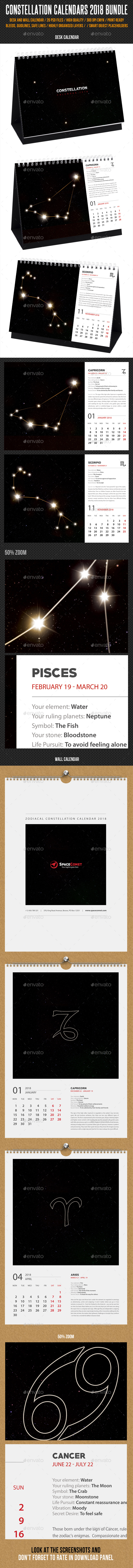 Constellation Calendars 2018 Bundle - Calendars Stationery