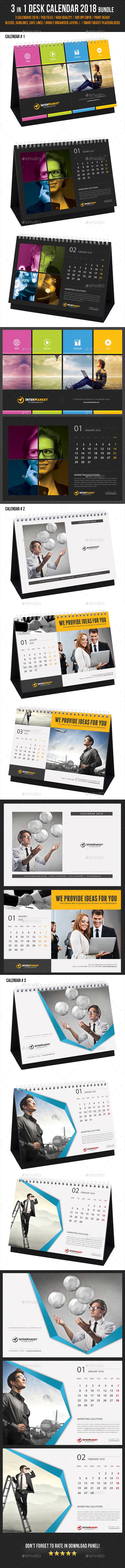 3 in 1 Corporate Desk Calendar 2018 Bundle - Calendars Stationery