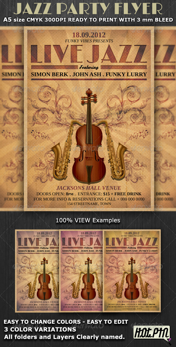 Jazz Party Flyer Template v3 - Flyers Print Templates