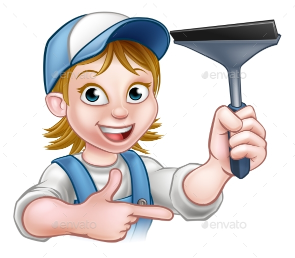 Woman Window Cleaner Cartoon Character - People Characters
