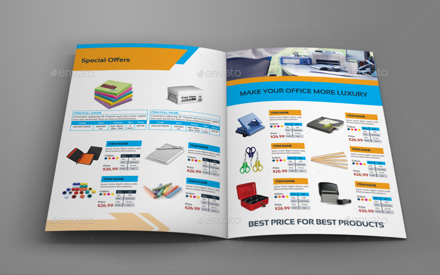 Stationery Products Catalog Brochure Bundle By OWPictures GraphicRiver - Pricing flyer template