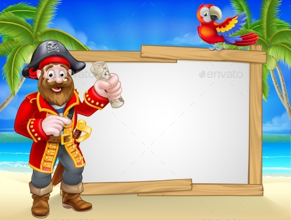 Pirate Cartoon Beach Sign Background - Miscellaneous Vectors