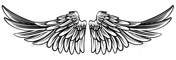 Spread Pair of Angel or Eagle Wings - Animals Characters