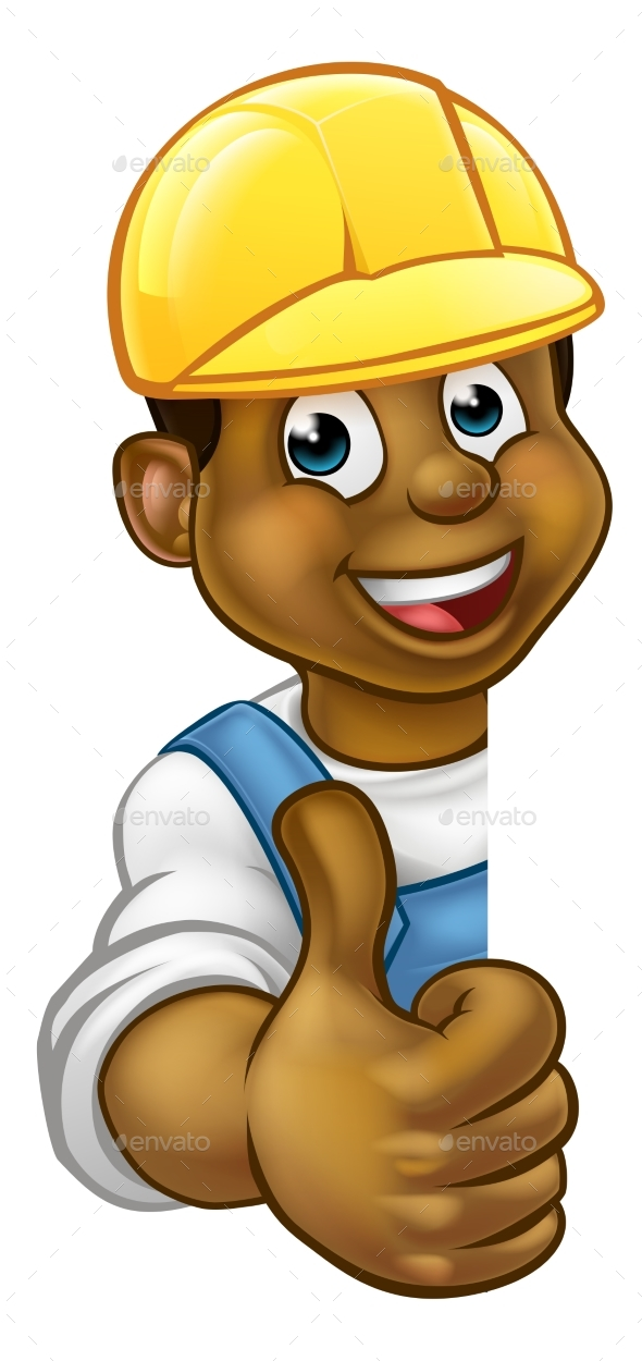 Black Handyman Hard Hat Thumbs Up - Miscellaneous Vectors