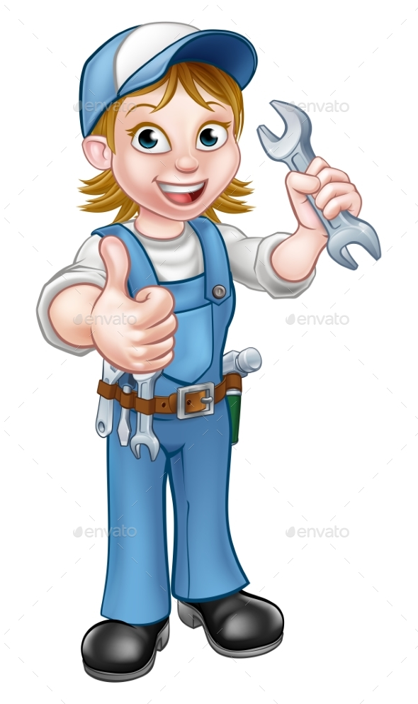 Female Mechanic or Plumber with Spanner - People Characters