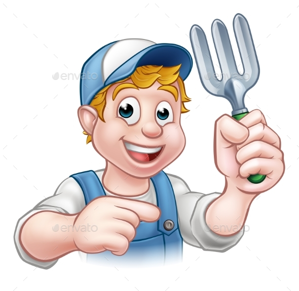 Gardener Cartoon Character - Food Objects