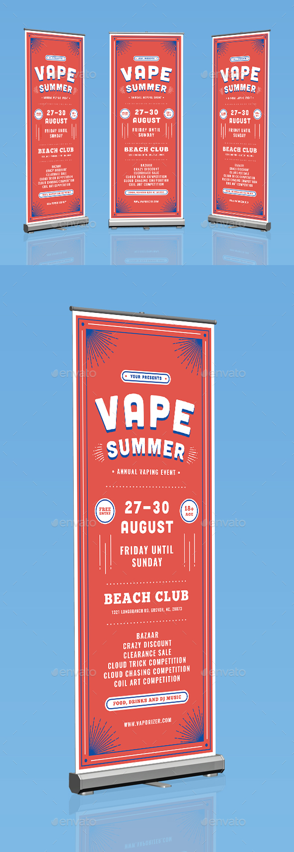 Vape Summer Roll Up Banner - Signage Print Templates