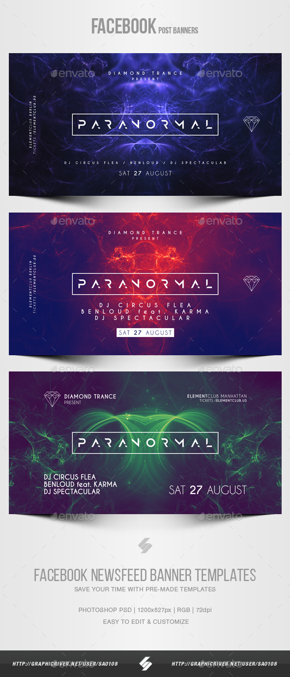 Electronic Music Party vol.22 - Facebook Post Banner Templates - Social Media Web Elements
