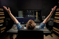 man at mixing console in music recording studio - PhotoDune Item for Sale
