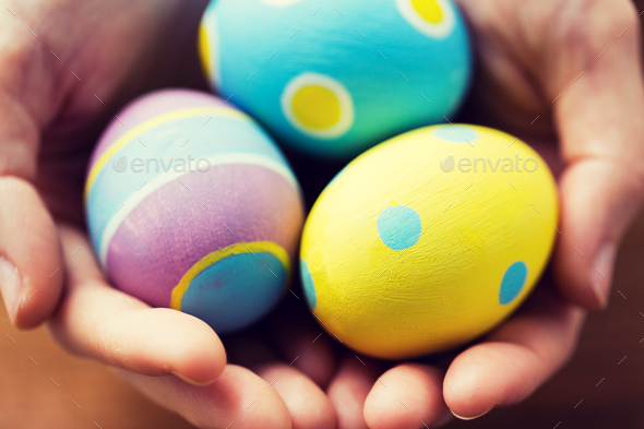 close up of colored easter eggs - Stock Photo - Images