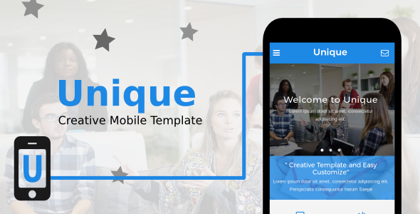Unique - Creative Mobile Template - Mobile Site Templates