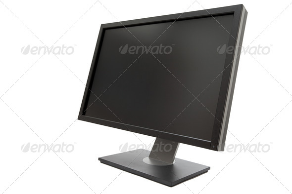 Computer monitor isolated - Stock Photo - Images