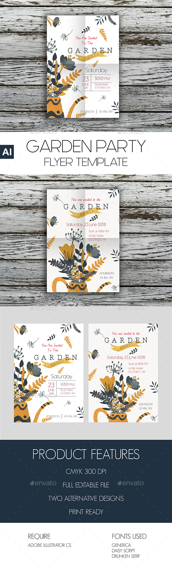 Garden Party Flyer Template - Flyers Print Templates