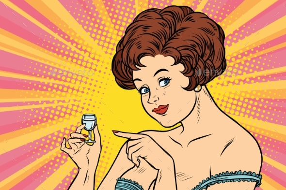 Retro Lady Offers a Drink of Vodka - People Characters