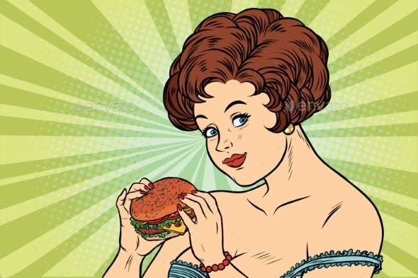 Woman and Burger - People Characters