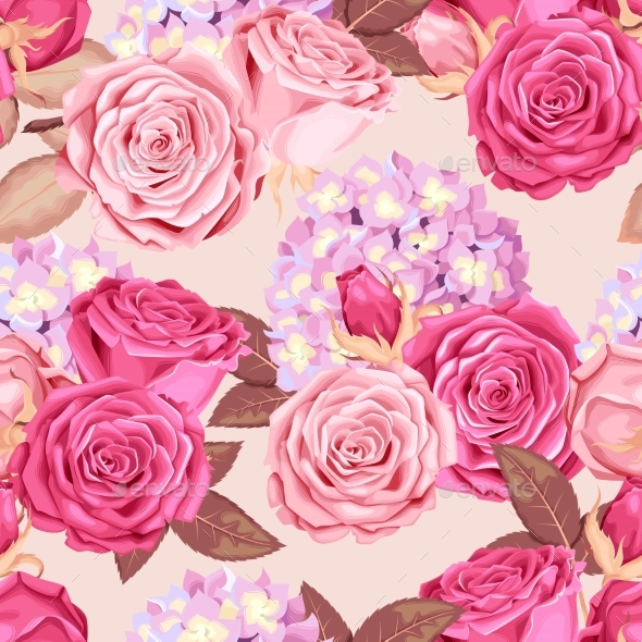 Roses and Hydrangea Seamless - Flowers & Plants Nature