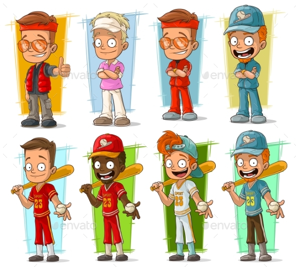 Cartoon Sportsmen Players Characters Vector Set - Miscellaneous Characters