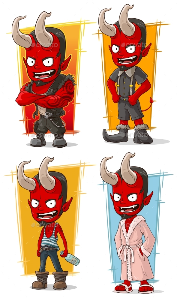 Cartoon Red Devil with Horns Characters Vector Set - Miscellaneous Characters