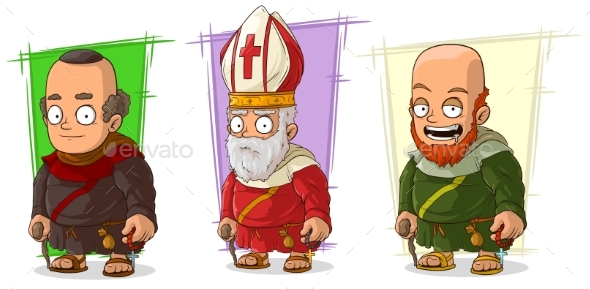 Cartoon Old Monk and Priest Characters Vector Set - Miscellaneous Characters
