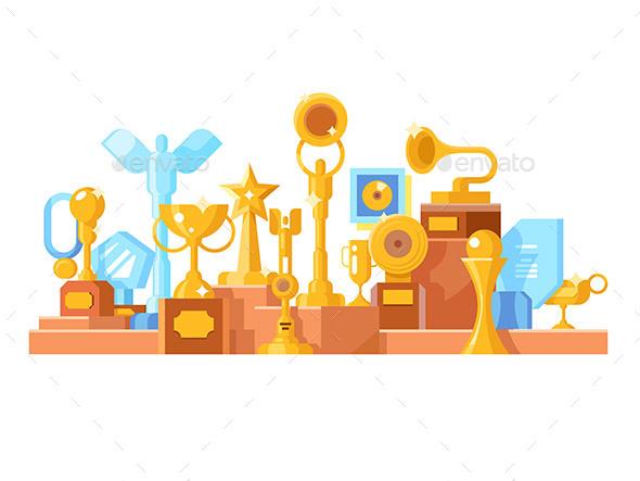 Awards Set Design Flat - Objects Vectors