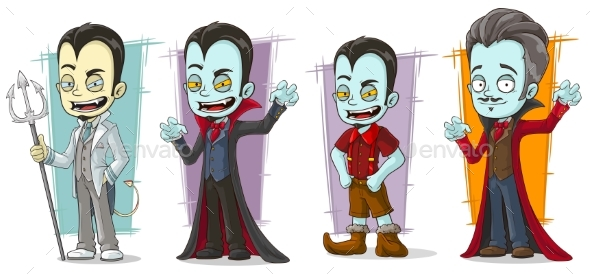 Cartoon Scary Vampire Family Characters Vector Set - Miscellaneous Characters