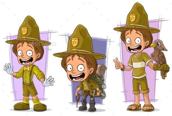 Cartoon Boyscout Ranger Character Vector Set - Miscellaneous Characters