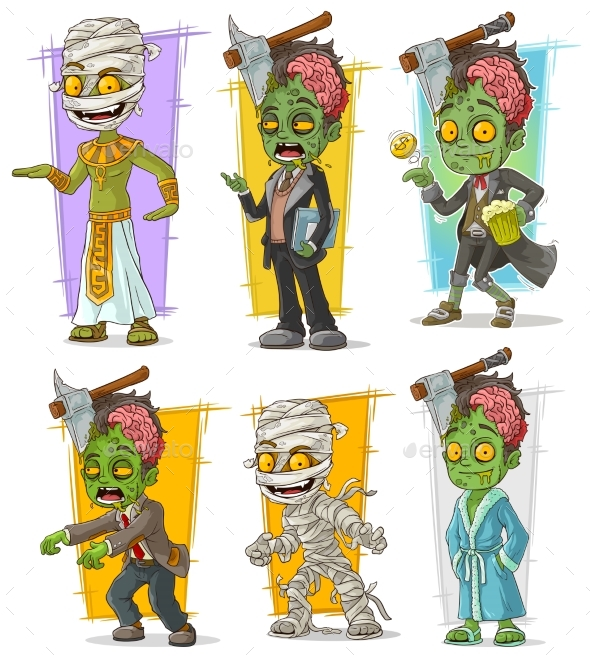Cartoon Zombie Mummy Monster Character Vector Set - Miscellaneous Characters